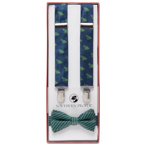 Navy Bullfrog Bow Tie Set